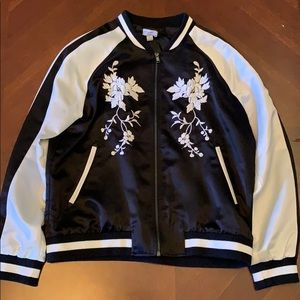 Silk black and white embroidered bomber jacket
